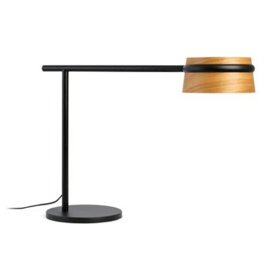 Sobremesa Loop LED regulable metal negro pantalla madera