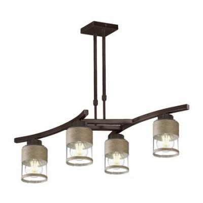 Lámpara rústica Álcazar cuatro luces forja y cristal