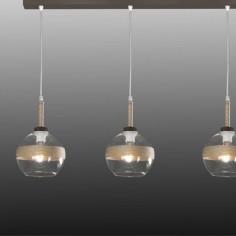 Lámpara techo Alcázar tres luces cristal y cuerda en metal marrón