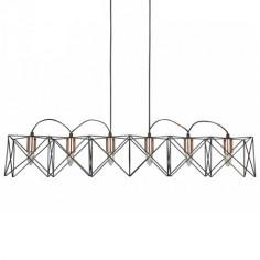 Lámpara techo moderna lineal Anthea seis luces en metal negro y cobre