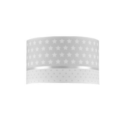 Lámpara aplique pared infantil Estrellas en textil gris y blanco