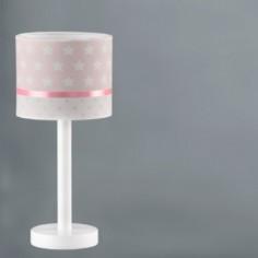 Lámpara sobremesa infantil Estrellas en rosa y blanco