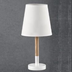 Lámpara de mesa juvenil Nórdico en madera y blanco pantalla textil
