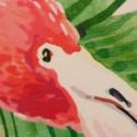 Set dos cuadros redondos Flamencos madera efecto rozado