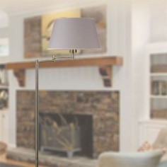 Lámpara pie americana Stuttgart en cuero con pantalla textil