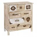 Cómoda vintage Liv nueve cajones madera rozada natural y blanca