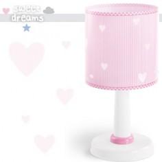 Sobremesa infantil Sweet Dreams en rosa y blanco a rayas con corazones