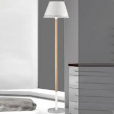 Lámpara suelo juvenil Nieve en blanco y gris con pie en madera