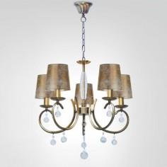 Lámpara clásica Nicosia cuero y cristal cinco luces con pantallas doradas