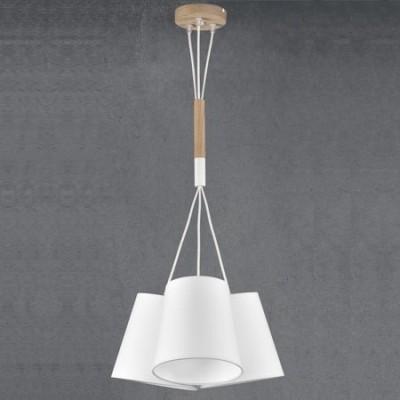 Lámpara colgante juvenil Nórdico tres luces en blanco y madera