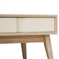 Mesita de noche Nordic madera natural y crema con un cajón