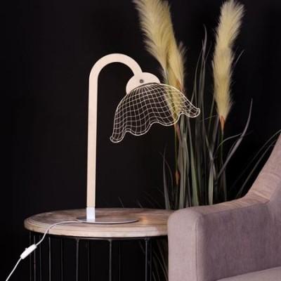 Lámpara decorativa de mesa LED madera natural y blanco