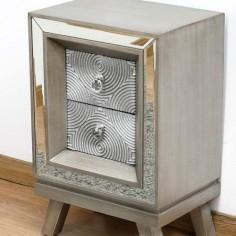 Mesa de noche Círculos madera y espejo tallado plata con dos cajones