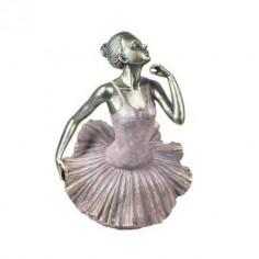 Bailarina plata envejecida champán con vestido rosa