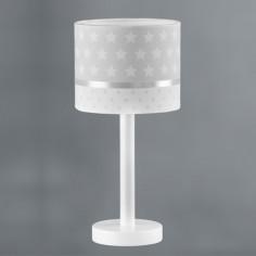 Lámpara infantil de mesa Estrellas con pantalla en blanco y gris