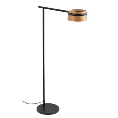 Pie salón LED regulable Loop en metal negro con pantalla de madera