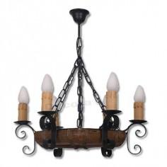 Lámpara rústica en madera detalles forja de seis luces