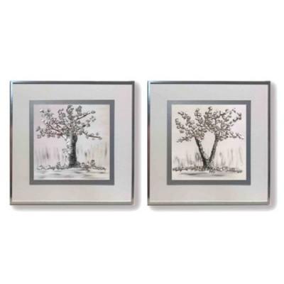 Set dos pinturas Árbol clásicas con marco en plata