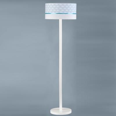 Lámpara de pie infantil Nubes en blanco y azul con pie en madera
