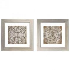 Juego dos cuadros Mandala relieve con marco en madera