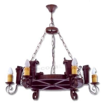 Lámpara rustica de forja con seis luces color teja