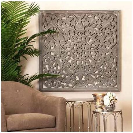 Cuadro decorativo mandala en color gris, cuadro mural para salon