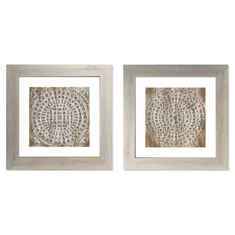 Cuadros mandalas decorativos en serie de dos, cuadros con relieve para salones clasicos
