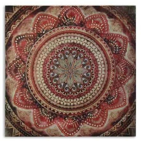 Lienzo con cuadro decorativo madala en rojo